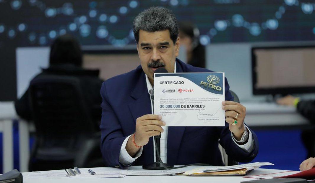 Jefe de Estado anuncia entrega certificada de 30 millones de barriles de crudo como respaldo líquido